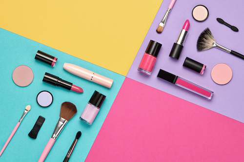 Fashion Cosmetic Makeup Set. Collection Beauty Products Accessories. Essentials. Layout. Trendy Design. Lipstick Brushes Eyeshadow. Creative Pastel Color. Art Concept Style. Flat lay.